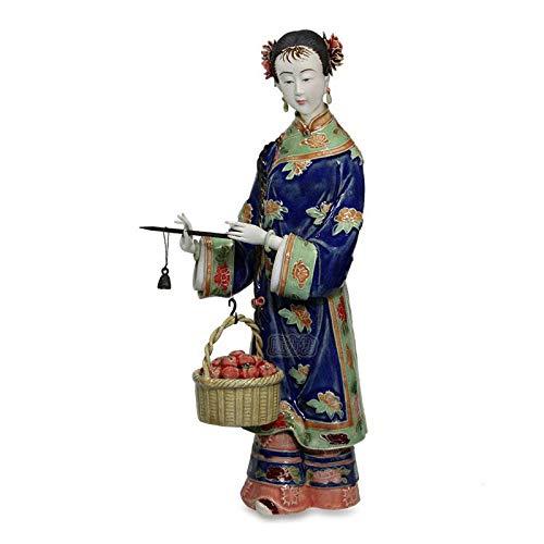 YNJZ Skulptur Statuen für die Dekoration Porzellanfiguren Chinesische weibliche Statue Antike Imitation Keramikskulptur Sammlerstücke