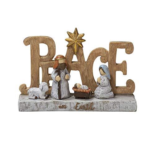 Juego de escena de belén de resina, adorno de Navidad para decoración de escritorio de Navidad para el hogar