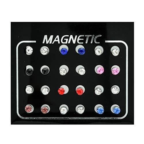 GUMEI 12 Pares de Pendientes magnéticos de Diamantes de imitación no Perforados, Pendientes de Clip, joyería