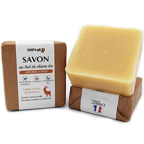 Savon au lait de chevre bio, Fabrication artisanale saponifié à froid avec 20% lait de Chèvre frais, Soin visage et corps naturel (Sans huile de palme, sulfates, silicone, paraben)