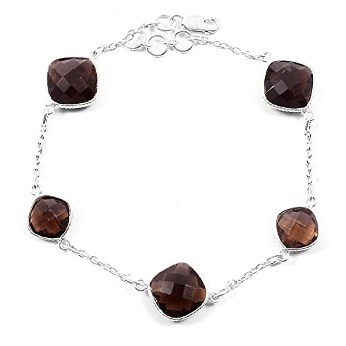 Smoky Quartz Gold Bracelet, Silver Jewelry, Stacking Bracelet, Chain Bracelet, Smokey Quartz Gemstone Jewelry, Gemstone Bracelets Bangle, Layering Chain Bracelet, Friends Gift, Gift For Girlfriend