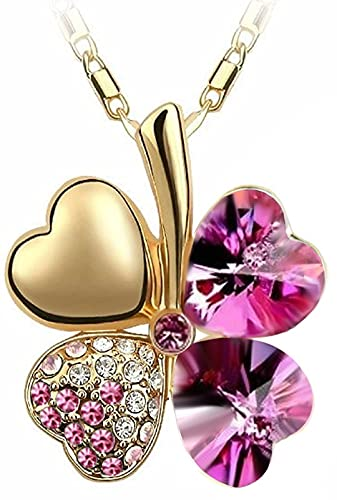 Quadiva E! - Collar con colgante de trébol (cristales de Swarovski), color dorado y fucsia