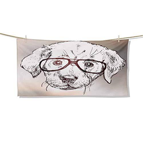 Toallas de Playa Lindo Cachorro Hipster con Gafas Smart Dog Nerd Animal Humor Fun Diseño gráfico Toallas de natación Alfombra de meditación Grande Absorbente y de Felpa