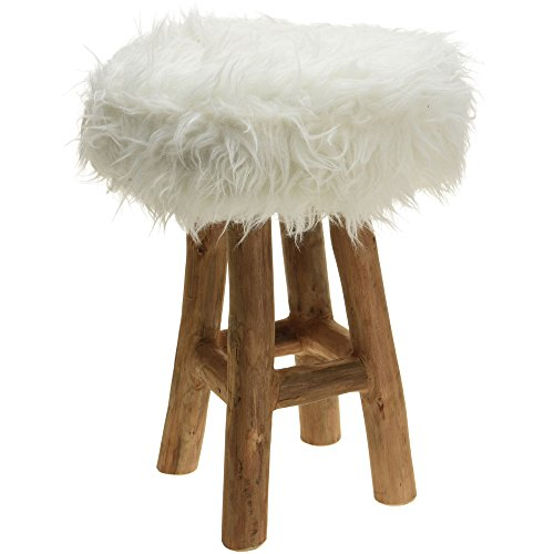 Home @ Styling Collection Asiento Taburete Pelo Fur White de Madera de Teca H: 42cm