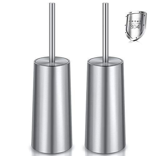 WITAIR Toilet Brush and Holder, Toilet Brush 304 Stainless Steel, Toilet Bowl Brush for Bathroom Toilet-Ergonomic, Elegant,Durable (2 Pack)