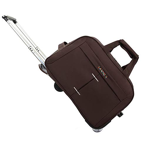 Adlereyire Trolley Bag 36-55 Liters,Lightweight and Waterproof Roller Bag Holdall with Wheels Functional Cabin Luggage Bag for Laptops up to 17' (Color : Brown, Size : 20-inches)