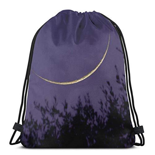 Moon Crescent Above Tree Christmas Drawstring Backpack Bag WomenandMen Sport Gym Bag