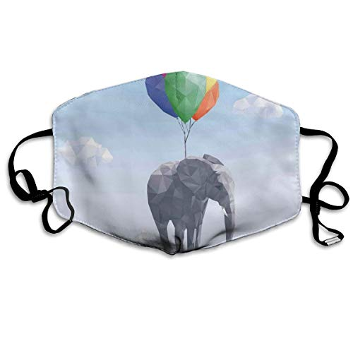 Olifant bevestigd aan kleurrijke ballonnen in de lucht geometrisch papier effect veelhoekige ArtPrinting veiligheid Mond Cover voor volwassenen