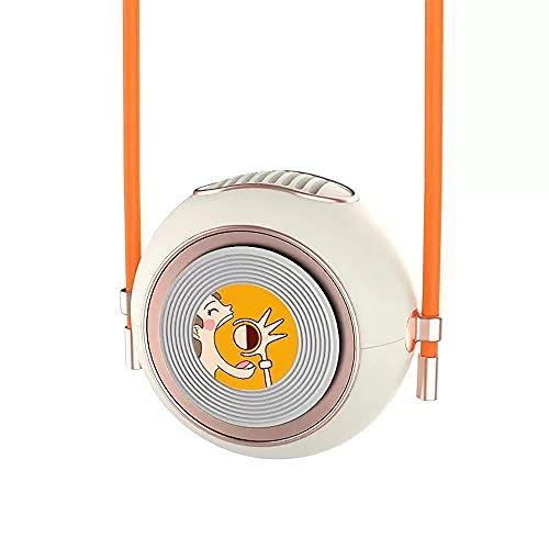 Ventilador De Cuello Colgante con Cordón, Ventilador/Regalo Redondo USB De Mano De Escritorio De Dibujos Animados Lindo, 3 Velocidades / 2 Velocidades, Ligero Y Portátil,Blanco,B