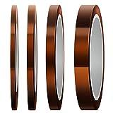 LUTER 4 Rotoli Nastro Termico Nastro Alta Temperatura Polyimide Heat Resistant Tape per Stampa Sublimatica, Trasferimento di Calore e Isolamento (3mm / 5mm / 8mm / 12mm x 33m, Fulvo)