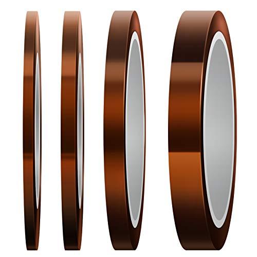 LUTER 4 Rollen Hitzebeständiges Klebeband Hochtemperatur Isolierband polyimid Klebeband für Sublimationsdruck, Wellenlöten, 3D Drucker(3 mm / 5 mm / 8 mm / 12 mm x 33 m, Tawny)