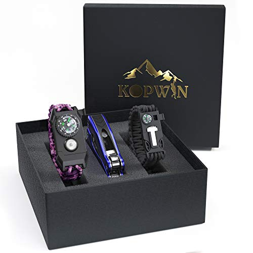 Kopwin Paracord Survival Bracelet Set - Bonus Keychain Multitool Included. Women Paracord Bracelet with Compass, Magnesium Flint Fire Starter, Emergency Whistle, and Led Light. Set of 2.Pink
