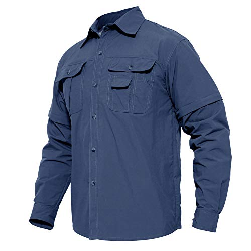MAGCOMSEN Shirt tactique, Chemises à manches longues, respirant l'armée shirt pour Hommes XXX- Large bleu