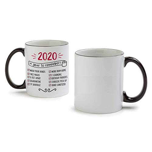 Personalized Planet 2020 Check List Coffee Mug with COVID Details on White Ceramic Cup and Black Handle, Creative and Fun Novelty Gift, 11oz