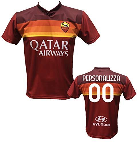 Maglia Calcio Roma Personalizzabile Replica Autorizzata 2020-2021 Taglie da Bambino e Adulto. Personalizza con Il Tuo Nome o del Tuo Giocatore Preferito. (10 Anni)