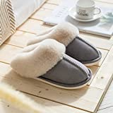 QPPQ Pantuflas de espuma viscoelástica, zapatillas antideslizantes de felpa, zapatillas de algodón cálido para hombres y mujeres-gris claro _4.5-5, zapatillas de algodón al aire libre
