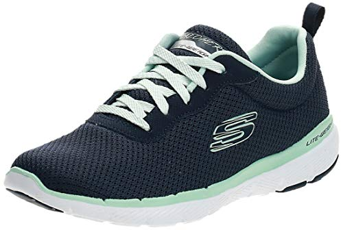 Skechers Flex Appeal 3.0-First Insight, Zapatillas, Azul (NVAQ Black Mesh/Trim), 36 EU