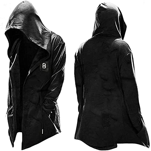 Hoodie Long Sleeve Suits Assassin's Creed Men's Hooded Pullover Jacket Cosplay Coat Drawstring Hoodie Top Jacket Black