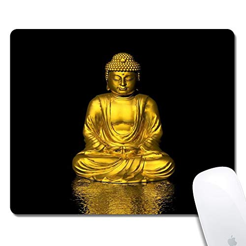 Customized Printed Gold Buddha Mouse Pad Ergonomic Computer Mouse Pad (9.5x7.9x0.1inch) Extended Gaming Mouse Mat with Non-Slip Rubber Base for Desktops Laptop Computer & PC, Home & Office