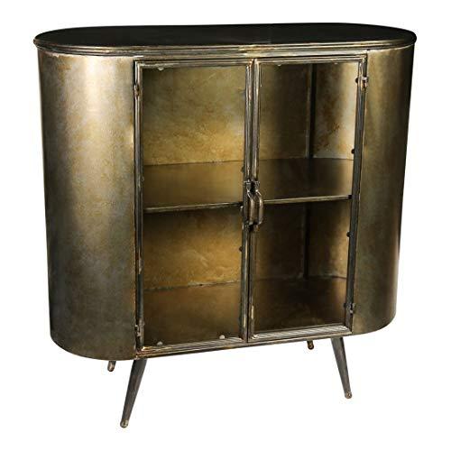 Vitrinenschrank Sideboard Spacer Vintage Metall Glas Messing Gold