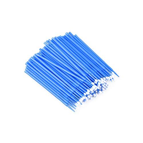 Minkissy 100Pcs Applicateurs de Maquillage Jetables Pinceaux pour Les Cils Pinceaux à Lèvres Kit de Maquillage de Baguettes de Mascara (Bleu Diamètre de Brosse 2Mm)