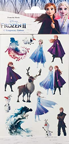 TrendyMaker Disney Die Eiskönigin 2, Frozen 2 - Haut Tattoo, Tattoos Set - 1 Bogen mit 12 Motive, auf Hautverträglichkeit geteset - passend als Mitgebsel, für Adventskalender, Schultüte,...
