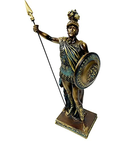 Urbalabs Roman Spartan Greek Battle Warrior 13' Inch with Spear and Hoplite Shield Detailed Greek Statue Mythology Ancient Rome Sculpture Figurine Home Office Desk Decor