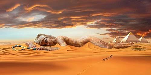 HNZKly Abstracto Paisaje Poster Y Impresiones Pared Arte Lienzo Pinturas Egipcio Desierto PiráMide Cuadros para Salon HabitacióN Hogar Decoracion 50x100cm / Sin Marco