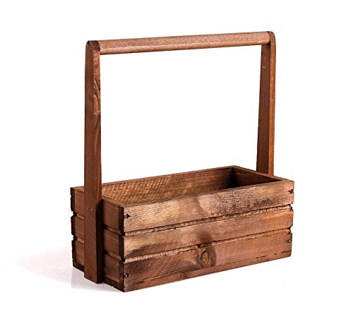TINTOURS Boîte en Bois avec poignée pour Herbes et Fleurs Marron 30 x 13 x 11/31 cm