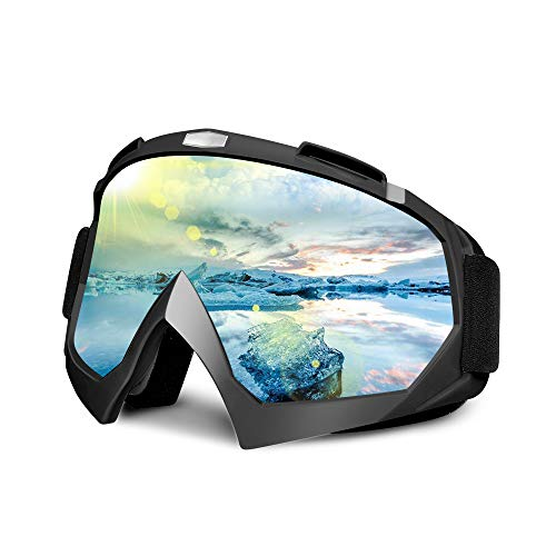 Frebw Ski Snowboard Goggles,Winter Snow Sports Snowboard Over Glasses Goggles with Anti-Fog UV Protection Double Lens,Adjustable UV Protective Safety Outdoor Glasses for Cycling, Climbing (Black)