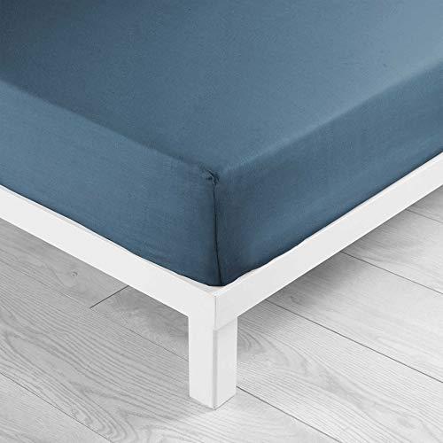 douceur d'intérieur 1642642 Drap Housse 2 Personnes, Coton, Bleu Nuit, 140 x 190 cm