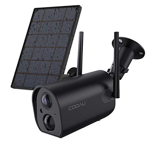 COOAU 15000mAh Akku Überwachungskamera mit Solarpanel, 1080P Kabellos Wiederaufladbare WLAN IP Kamera mit PIR-Bewegungserkennung, Lange Zeit Standby mit 15M Nachtsicht, 2Wege Audio, IP65 Wasserdicht