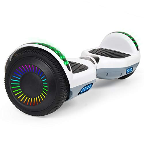 SISIGAD Hoverboard, 6.5' Two-Wheel Self Balancing Hoverboard - White Gray