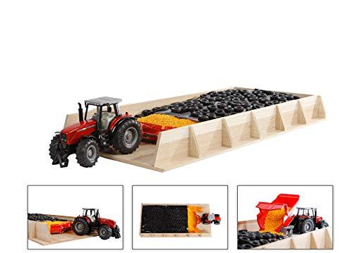 Kids Globe Riesen-Fahrsilo für Traktoren, aus Holz ( Silo, Fahrsilo, Spielzeug Lagerhaus), Größe 30 x 60 x 6 cm, Maßstab 1:32 - hochwertiges Holzspielzeug - ohne Zubehör - 610186