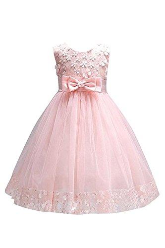 YMING Mädchen Kleider Ärmellos Brautjungfern 3D Blumenkleid Hochzeitparty Festliches Prinzessin Kleid Rosa 5-6 Jahre Alt