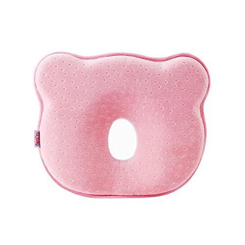 Aloces Cuscino Neonato, Cuscino Prevenzione Testa Piatta, 100 % Cotone Traspirante Antirotolamento Cuscino Bambino, Utilizzabile 0-24 Mesi per Prevenzione o Trattamento Testa Piatta - Rosa