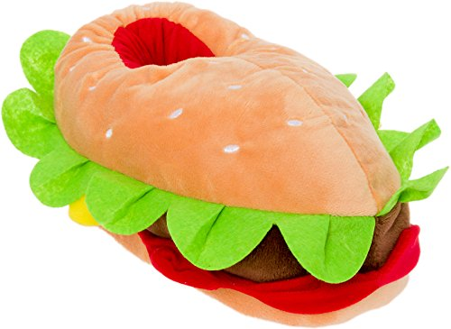 Silver Lilly Hamburger Slippers - Plush Cheeseburger Slippers w/Comfort Foam Support (Multi Color, Small)