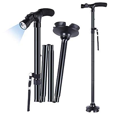 Walking Stick, Ohuhu LED Folding Walking Cane Walking Stick With Adjustable LED Lights Carrying Bag For Men / Women