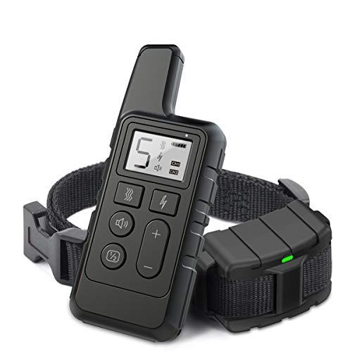 Collares para perros antiladridos con control remoto de 800 m, dispositivos disuasivos de ladridos para perros con modos de descarga eléctrica / vibración / sonido para adiestramiento de perros,Negro