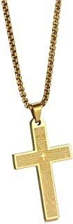 Men's Cross Necklace 316L Stainless Steel Jesus Ankh Pendant Chain Jewelry 22'' Silver for boys gold plated 18K