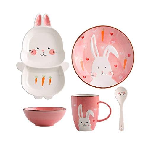 cuenco para comer, Japonés estilo cerami cuenco rosa niños cubiertos niños lindo conejo cerámico cuenco creativo ensalada placa pequeña cuchara casa desayuno vajilla ramen ensalada sopa fruta de fruta