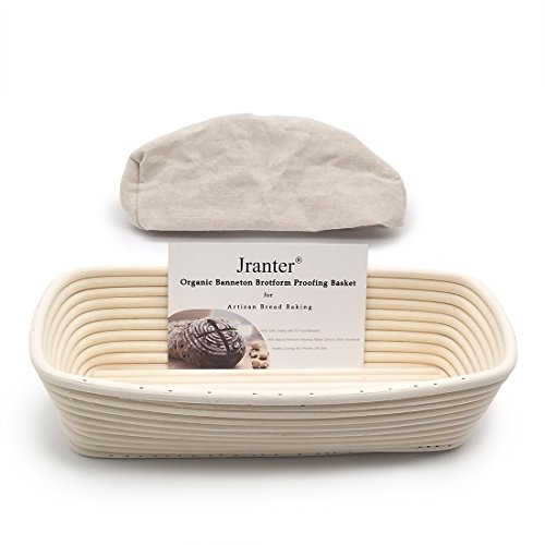Banneton Bread Proofing Basket Rectangle 12 Inch and Linen Liner Set