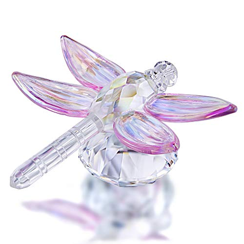 Crystal Dragonfly Figurine Collectible Art Glass Animal Figurines Collection Table Decoration Gifts(Pink)