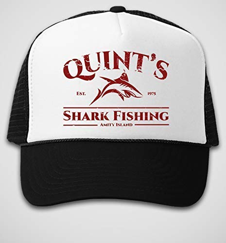 Quints Shark Fishing Hat - retro jaws movie hat, vintage style trucker hats, classic 70s snapback, 1970s horror film gifts