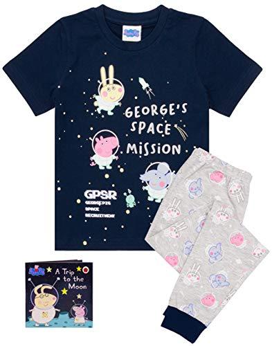 Peppa Pig George Pyjamas Jungen Mädchen Space T-Shirt Hosen PJs mit Geschichte B 5-6 Jahre