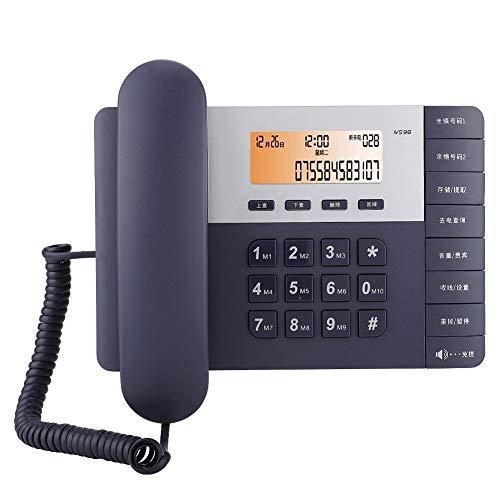 Shipenophy Teléfono de Escritorio de Oficina, Pantalla de identificación de Llamadas, teléfono de casa, teléfono con Pantalla LCD HD de marcación rápida para decoración(Azul)