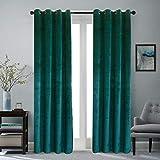 Roslynwood Super Soft Luxury Velvet Peacock Blue Blackout Velvet Energy Efficient Grommet Curtain Panel Drapes Ginger 52Wx63L(1panels)