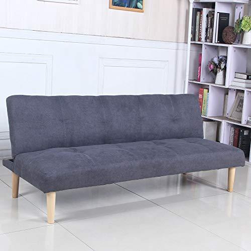 Sofá Cama 3 plazas Clic Clac Joy Gris Oscuro tapizado con Tela 100% Poliéster, Patas de Madera