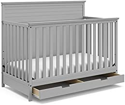 StorkCraft Homestead 4-in-1 Convertible Crib with Drawer - Full-Size Storage Drawer, Crib Easily Converts to Daybed, Toddler Bed, & Full-Size Bed with Headboard & Footboard, Pebble Gray, Crib