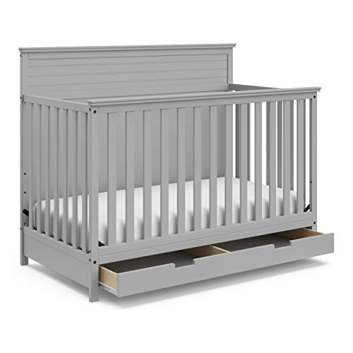 StorkCraft Homestead 4-in-1 Convertible Crib with Drawer - Full-Size Storage Drawer, Crib Easily Converts to Daybed, Toddler Bed, & Full-Size Bed with Headboard & Footboard, Pebble Gray